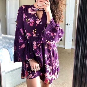 PATRONS OF PEACE Floral Bell Sleeve Boho Dress